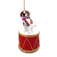 Pointer Brown & White Drum Ornament
