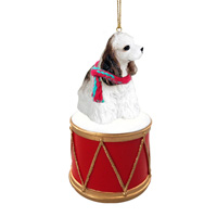 Cocker Spaniel Brown & White Drum Ornament