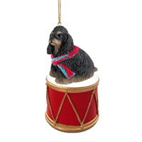 Cocker Spaniel Black & Tan Drum Ornament