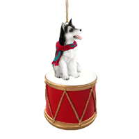 Husky Black & White w/Brown Eyes Drum Ornament
