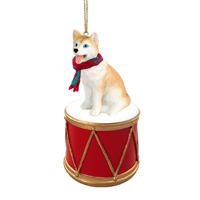 Husky Red & White w/Blue Eyes Drum Ornament