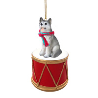 Husky Gray & White w/Brown Eyes Drum Ornament