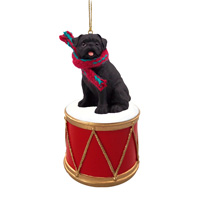 Pug Black Drum Ornament