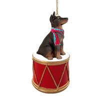 Doberman Pinscher Red w/Cropped Drum Ornament