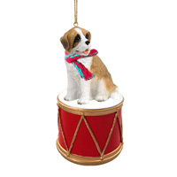Saint Bernard w/Rough Coat Drum Ornament