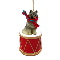 Keeshond Drum Ornament