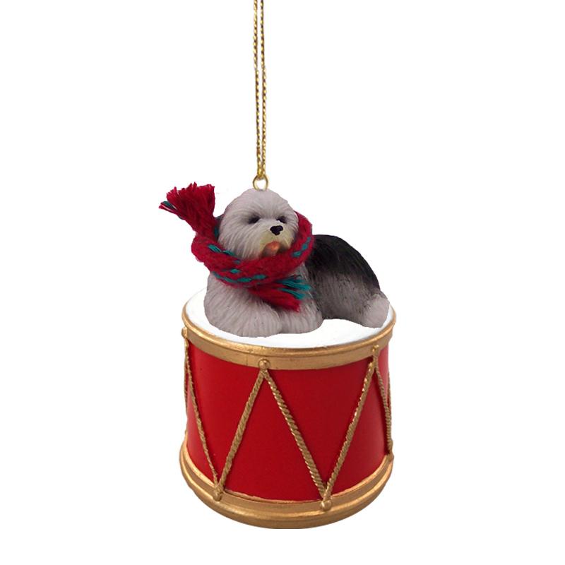 Old English Sheepdog Drum Ornament