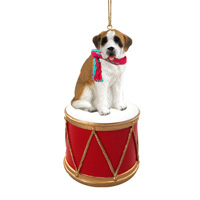 Saint Bernard w/Smooth Coat Drum Ornament