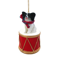 Papillon Black & White Drum Ornament