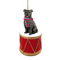 Staffordshire Bull Terrier Brindle Drum Ornament