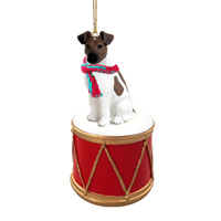 Fox Terrier Brown & White Drum Ornament
