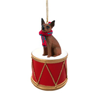 Miniature Pinscher Red & Brown Drum Ornament