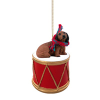 Dachshund Longhaired Red Drum Ornament