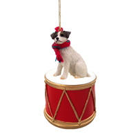 Jack Russell Terrier Brown & White w/Rough Coat Drum Ornament