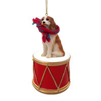 Cavalier King Charles Spaniel Brown & White Drum Ornament