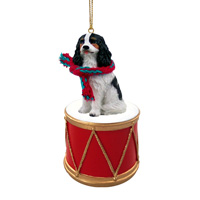 Cavalier King Charles Spaniel Black & White Drum Ornament