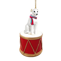 Whippet White Drum Ornament