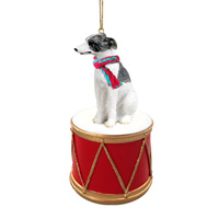 Whippet Gray & White Drum Ornament