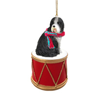 Bearded Collie Drum Ornament