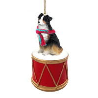 Australian Shepherd Tricolor Drum Ornament