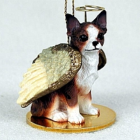 Chihuahua Brindle & White Pet Angel Ornament