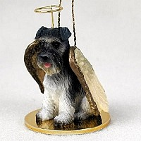 Schnauzer Gray w/Uncropped Ears Pet Angel Ornament