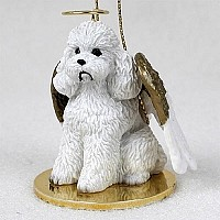 Poodle White w/Sport Cut Pet Angel Ornament