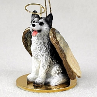 Husky Black & White w/Brown Eyes Pet Angel Ornament