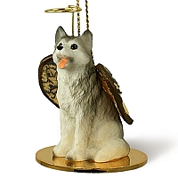 Husky Gray & White w/Brown Eyes Pet Angel Ornament