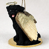 Pug Black Pet Angel Ornament
