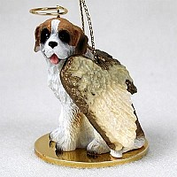 Saint Bernard w/Rough Coat Pet Angel Ornament
