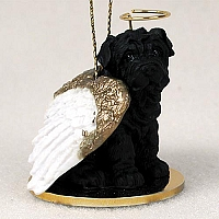 Shar Pei Black Pet Angel Ornament