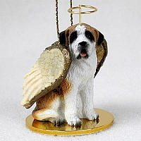 Saint Bernard w/Smooth Coat Pet Angel Ornament