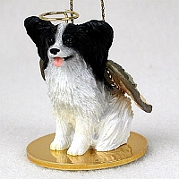 Papillon Black & White Pet Angel Ornament