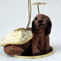 Dachshund Longhaired Red Pet Angel Ornament