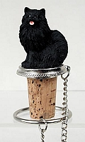 Pomeranian Black Bottle Stopper