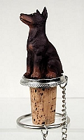 Doberman Pinscher Red w/Cropped Bottle Stopper