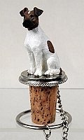 Fox Terrier Brown & White Bottle Stopper