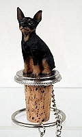 Miniature Pinscher Tan & Black Bottle Stopper