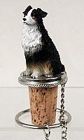 Australian Shepherd Tricolor w/Docked Tail Bottle Stopper