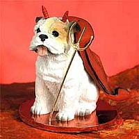 Bulldog White Devilish Pet Figurine