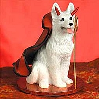 German Shepherd White Devilish Pet Figurine
