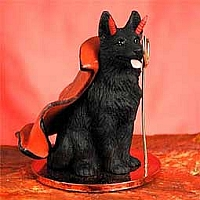 German Shepherd Black Devilish Pet Figurine