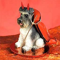 Schnauzer Gray w/Uncropped Ears Devilish Pet Figurine