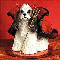 Cocker Spaniel Brown & White Devilish Pet Figurine