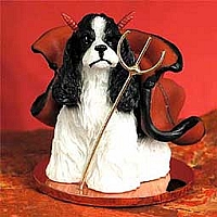 Cocker Spaniel Black & White Devilish Pet Figurine