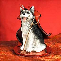Husky Black & White w/Brown Eyes Devilish Pet Figurine