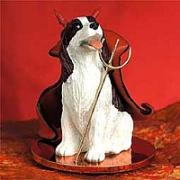 Springer Spaniel Liver & White Devilish Pet Figurine