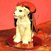 Labrador Retriever Yellow Devilish Pet Figurine