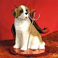 Saint Bernard w/Rough Coat Devilish Pet Figurine